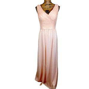 Bill Levkoff Sequin Peach Maxi Evening Dress -N818